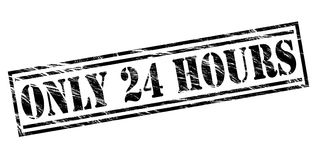 Only 24 hours black stamp. Isolated on white background Royalty Free Stock Photography