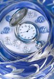 Hours on a blue background. Texture Royalty Free Stock Photography