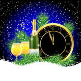 Hours and champagne with tree branches efi Stock Image