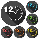 12 hours circular icons set with long shadow. Vector icon Stock Illustration