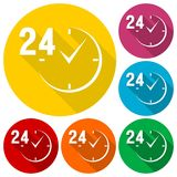 24 hours circular icons set with long shadow Royalty Free Stock Photography