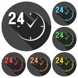 24 hours circular icons set with long shadow. Vector icon Royalty Free Stock Image