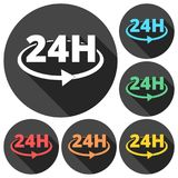 24 hours circular icons set with long shadow. Vector icon Stock Photography