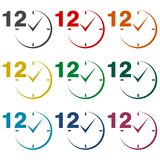 12 hours circular icons set. Vector icon Stock Illustration