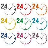 24 hours circular icons set. Vector ocon royalty free illustration