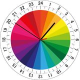 24 hours clock dial with color sectors for each hour for highlighting. Vector Illustration. 24 hours clock dial with color sectors for each hour for highlighting Royalty Free Stock Photos