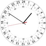 24 hours clock dial with the seconds dial. Vector Illustration. 24 hours clock dial with the seconds dial. Full day clock. Vector Illustration Royalty Free Stock Photo