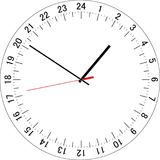 24 hours clock dial. Vector Illustration. 24 hours clock dial. Full day clock. Vector Illustration Royalty Free Stock Photo
