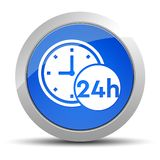 24 hours clock icon blue round button illustration royalty free illustration