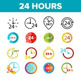 24 Hours, Clock, Time Vector Color Icons Set stock illustration