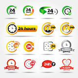 24 hours. Colorful vector icons set: 24/7, Badge, Label or Sticker for Customer Service, Support, Call Center or CRM Concept Stock Images