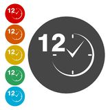12 hours customer service. Vector icon stock illustration