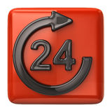 24 hours customer service icon. 3D illustration of 24 hours customer service orange icon Royalty Free Stock Photos