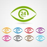 24 hours customer service icon in the form of eye. Royalty Free Stock Photography