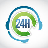 24 hours customer support illustration design. Over a white background Stock Image