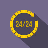 24 hours customer support service icon, flat style Royalty Free Stock Photography
