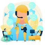 Customers Support with Call Center Vector Concept royalty free illustration