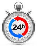 24 hours. 3d generated picture of a stopwatch with word 24h Stock Image