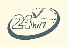 24 hours 7 day clock drawn style. Vector illustration Stock Images