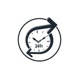 24 hours-a-day concept, clock face with a dial and an arrow arou Stock Photos