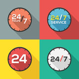 24 hours a day and 7 days a week. Service flat icon clock Stock Image