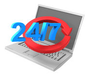 24 hours a day and 7 days a week service sign. Computer generated 3D photo rendering Stock Photography