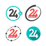 24 hours a day icons. Illustration Stock Photos