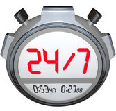 24 Hours a Day Seven Days Week Stopwatch Timer Clock. A stopwatch timer with the numbers 24 / 7 to illustrate that a store or website is open or operational Stock Photography