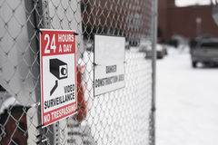 24 hours a day video surveillance area by construction site Royalty Free Stock Images
