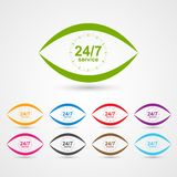 24 hours 7 days customer service icon in the form of eye. Vector illustration Stock Image