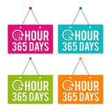 24 Hours 365 Days hanging Door Sign. Eps10 Vector. 24 Hours 365 Days hanging Door Sign. Eps10 Vector illustration Stock Image