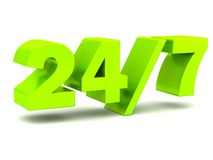 24/7 24 hours 7 days a week lettering Royalty Free Stock Photos