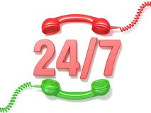 24 hours 7 days a week sign. Retro red and green phone receivers. 3D render illustration  on white background Royalty Free Stock Image