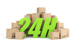 24 hours delivery. Business concept. Separated on white Royalty Free Stock Photography