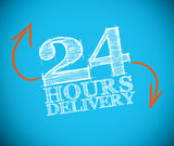 24 hours delivery drawing with orange arrows. On blue background Royalty Free Stock Photos