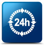 24 hours delivery icon blue square button. 24 hours delivery icon isolated on blue square button abstract illustration Royalty Free Stock Images