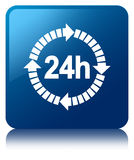24 hours delivery icon blue square button. 24 hours delivery icon isolated on blue square button reflected abstract illustration Royalty Free Stock Image
