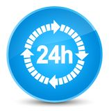 24 hours delivery icon elegant cyan blue round button. 24 hours delivery icon isolated on elegant cyan blue round button abstract illustration Stock Photo