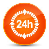 24 hours delivery icon elegant orange round button. 24 hours delivery icon isolated on elegant orange round button abstract illustration Royalty Free Stock Photos