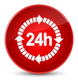 24 hours delivery icon elegant red round button. 24 hours delivery icon isolated on elegant red round button abstract illustration Royalty Free Stock Photo
