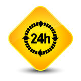 24 hours delivery icon elegant yellow diamond button Royalty Free Stock Image