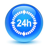 24 hours delivery icon glassy cyan blue round button. 24 hours delivery icon isolated on glassy cyan blue round button abstract illustration Royalty Free Stock Photos