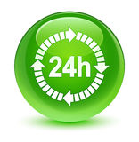 24 hours delivery icon glassy green round button. 24 hours delivery icon isolated on glassy green round button abstract illustration Stock Image