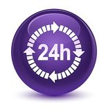 24 hours delivery icon glassy purple round button. 24 hours delivery icon  on glassy purple round button abstract illustration Royalty Free Stock Image