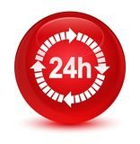 24 hours delivery icon glassy red round button. 24 hours delivery icon  on glassy red round button abstract illustration Royalty Free Stock Photos