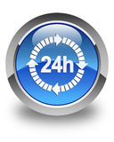 24 hours delivery icon glossy blue round button. 24 hours delivery icon isolated on glossy blue round button abstract illustration Stock Photos