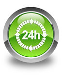 24 hours delivery icon glossy green round button. 24 hours delivery icon isolated on glossy green round button abstract illustration Royalty Free Stock Photography