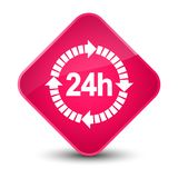 24 hours delivery icon elegant pink diamond button. 24 hours delivery icon isolated on elegant pink diamond button abstract illustration Royalty Free Stock Photography