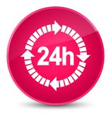 24 hours delivery icon elegant pink round button. 24 hours delivery icon isolated on elegant pink round button abstract illustration Stock Photos