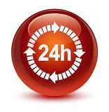 24 hours delivery icon glassy brown round button. 24 hours delivery icon isolated on glassy brown round button abstract illustration Royalty Free Stock Photos